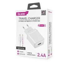 Сетевое ЗУ USB, 2.4A, Smart IC, +Lightning кабель в комплекте, OLMIO