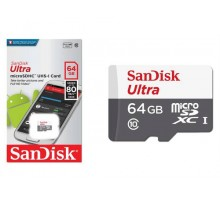 Micro SD 64GB SanDDSk Class 10 Ultra Android (80 Mb/s) + SD адаптер