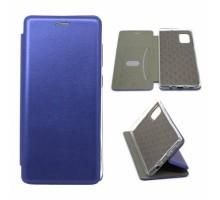 Чехол книжка гладкая кожа боковая с магнитом Samsung Galaxy A71 Синяя