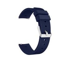Сменный браслет 20мм (Amazfit GTR 42mm, Bip, Haylou LS01, LS02) ребристый (Темно-синий)